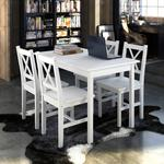 vidaXL Drewniany zestaw: stół i cztery krzesła, kolor biały