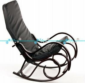 Calviano Fotel bujany, ciemne drewno mięciutka skóra ekologiczna - Fotel bujany,