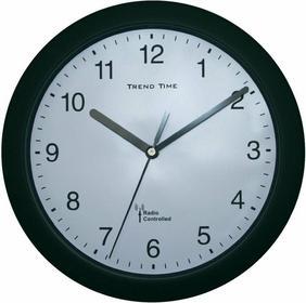 Zegar ścienny analogowy radiowy 25 cm x 3 8 cm czarny
