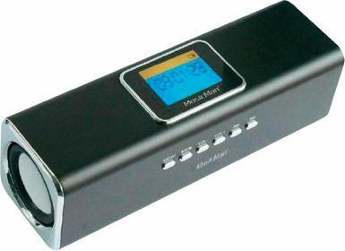 MusicMan Głośnik przenośny z LCD Technaxx MA microSD USB AUX-IN tuner FM czarny