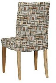 Dekoria Sukienka na krzesło Henriksdal krótka, brązowo-szary, krzesło Henriksdal