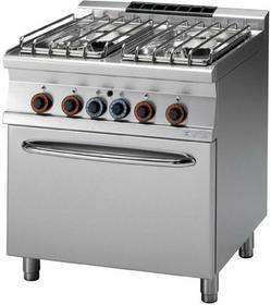 RM Gastro Kuchnia gazowa z piekarnikiem gazowym GN 2/1 CF4 - 78 G/P