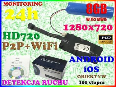 UKRYTA KAMERA SZPIEGOWSKA SZEROKOKĄTNY OBIEKTYW 100 stopni WiFi P2P HD AKUMULATO