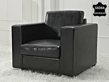 Beliani Skórzany fotel czarny - sofa - HELSINKI