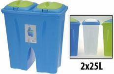 Podwójny kosz na śmieci - 2 x 25L - Pojemnik do segregacji śmieci 987410-niebie