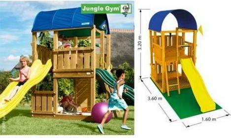 Jungle Gym Plac zabaw Farm z 2 zjeżdżalniami