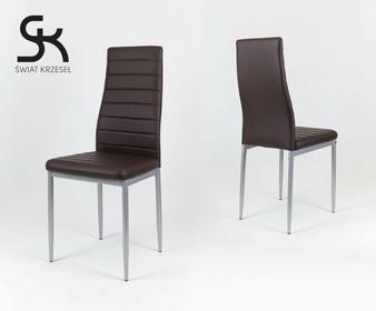 Świat Krzeseł KS001 CIEMNO BRĄZOWE krzesło z ekoskóry MALOWANE nogi KS001CBR mal