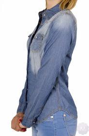 Koszula damska jeansowa niebieska gnieciona przetarta z długim rękawem