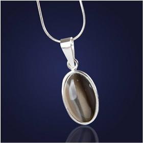 AnKa Biżuteria Wisiorek z krzemieniem pasiastym w delikatnej oprawie ze srebra.