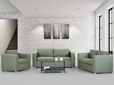 Beliani Zestaw wypoczynkowy oliwkowy - Sofa - trzyosobowa - dwuosobowa - fotel - HELSINKI