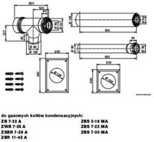 Junkers Zestaw przewodu powietrzno-spalinowego od kotła do Komina ( LAS ) O 80/125 AZB 888 7 719 002 476 7719002476