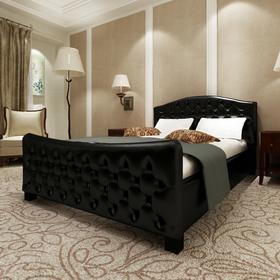 vidaXL Luksusowe łóżko 140x200 cm, sztuczna skóra, czarna z połyskiem