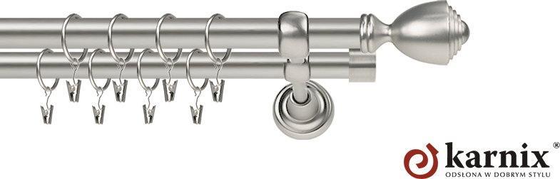Karnix Karnisz Metalowy Rzymski podwójny 19/19mm Avanti chrom mat