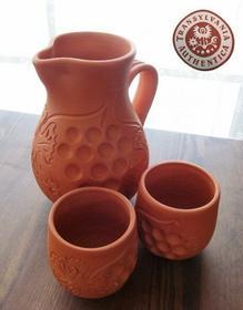 Kociołki węgierskie Gliniany komplet: dzban i kubki, do wina