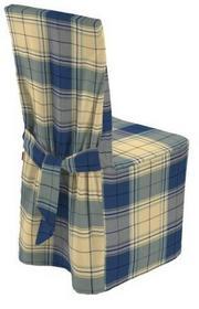 Dekoria Sukienka na krzesło duża niebiesko-żółta krata, 45x94 cm, Bristol