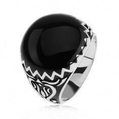 Biżuteria e-shop Pierścionek ze srebra 925, czarne zdobienie, zygzakowaty wzór i ornamenty