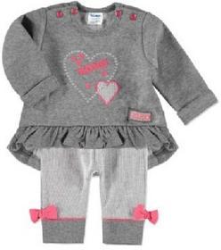 Dirkje Girls Baby Komplet 2-częściowy grey melange/bright pink 31T-18319H_2