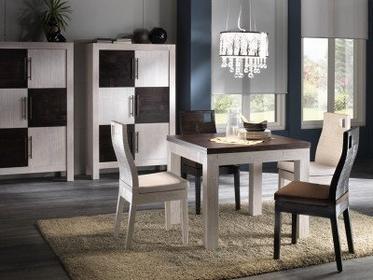 Bortoli Komplet z bambusa prasowanego - Stół kwadratowy Hotel 90x90 i 4 krzesła