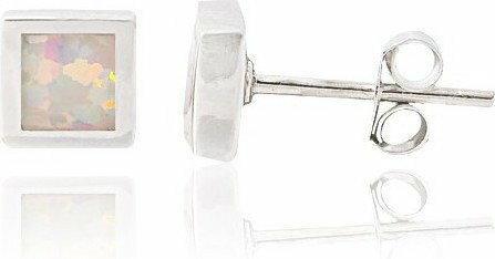 AnKa Biżuteria Srebrne rodowane kolczyki z opalem białym - kwadraciki.