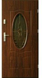 Drzwi zewnętrzne z witrażem Ellisse 90 Prawe Orzech