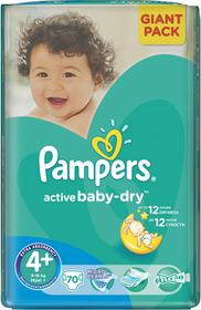 Pampers Active Baby Dry 4+ Maxi Plus 70 szt.