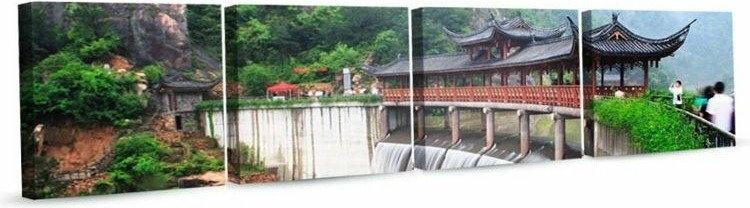 DobryObraz Cztery kwadraty - Chińska świątynia w Taizhou 0213 - obraz na płótnie
