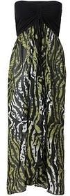 Bonprix Sukienka plażowa 937467_47697 czarno-oliwkowy zebra