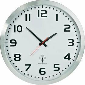 Zegar analogowy DCF Jumbo srebrny śr. 50 cm zasilanie: 1 bateria AA