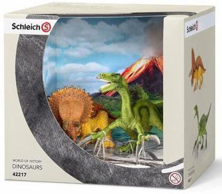 Schleich Dinozaury sceneria: Terizinozaur młody i Triceratops młody 42217