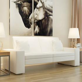 vidaXL Rozkładana kanapa z dużym oparciem, biała