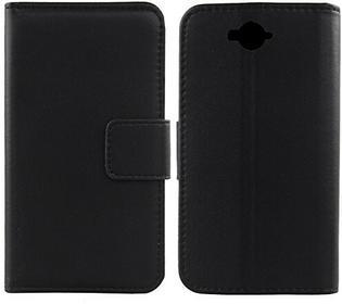 Doogee Gukas Design Echt Leder Tasche Für Homtom HT10 Hülle Handy Flip Brieftasche mit Kartenfächer Schutz Protektiv Genuine Premium Case Cover Etui Skin (Schwarz)