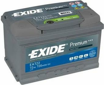 Exide Premium 72Ah 720A EA722 P+