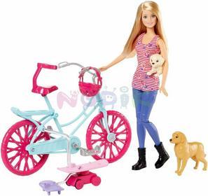 Mattel Barbie na rowerze z pieskiem CLD94