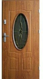 Drzwi zewnętrzne z witrażem Ellisse 90 Prawe Złoty Dąb