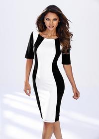 Bonprix Sukienka biel wełny - czarny 975165