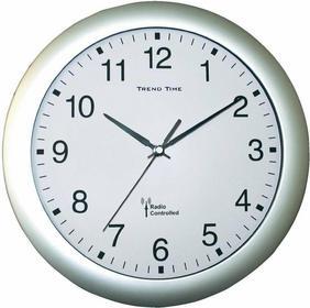 Zegar ścienny analogowy radiowy 30 cm x 4 5 cm srebrny