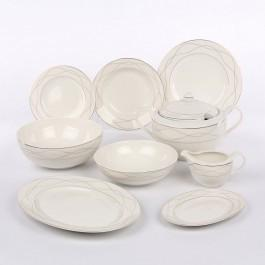 Karolina Zestaw obiadowy dla 12 osób porcelana ecru Amelia, złote zdobienia   Da