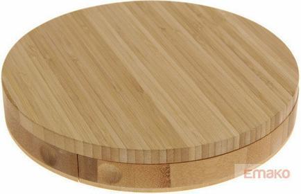 Excellent Houseware EH Deska do serów i przekąsek + 3 noże, okrągła forma K/8 1.