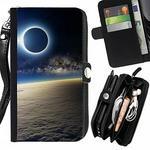 LG Peach Tech Flip Brieftasche PU-Leder-Mappen-Beutel Haut-Kasten-Abdeckung LederHülle Geldbörse Case Für X Screen / K500N / X view K500DS / Solar Eclipse From Space