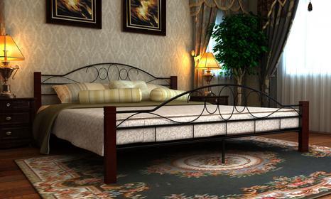vidaXL Metalowe łóżko z drewnianymi elementami (180 x 200 cm).