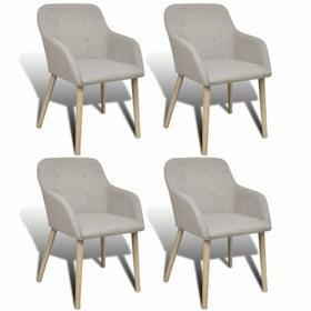 Zestaw 4 krzeseł jadalnianych do użytku wewnętrznego małe jasny szary