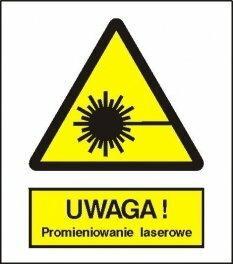 Znak 15 Uwaga promieniowanie laserowe 225x275 PB