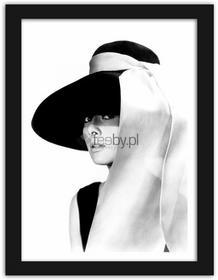Feeby Audrey w kapeluszu, Obrazy w ramie - Czarny