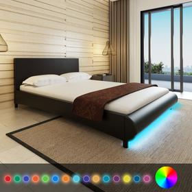 vidaXL Rama ka 140 x 200 cm Czarna Sztuczna Skra + Pas LED