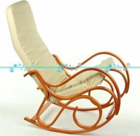Calviano Fotel bujany, bujak jasne drewno - beżowa skóra - Fotel bujany, bujak j