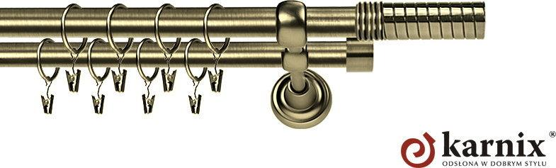 Karnix Karnisz Metalowy Rzymski podwójny 19/19mm Optima antyk mosiądz