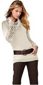 Bonprix Sweter z szydełkową koronką 952610_31846 kremowy