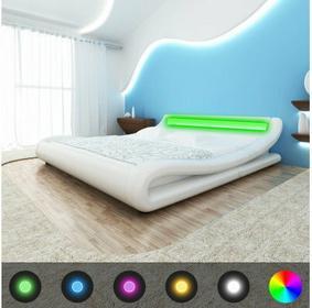 Łóżko BIAŁE Z PASEM LED 200 x 180