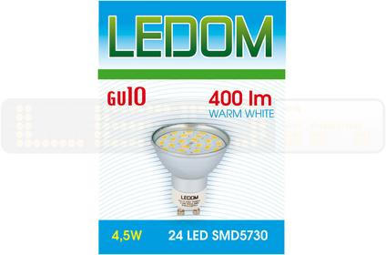 Ledom Żarówka LED 24 SMD5730 GU10 230V 4,5W 244162