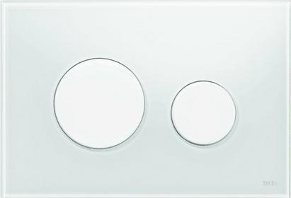 TECE przycisk spłukujący loop, szkło białe, przyciski białe